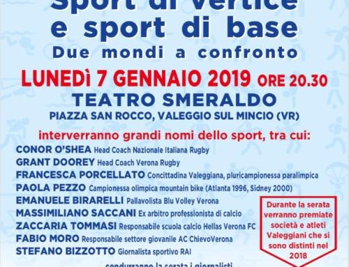 """Lunedì 7 gennaio """"Sport di vertice e sport di base. Due mondi a confronto"""""""